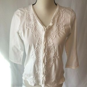 *Talbots Knit White Button Down Shirt